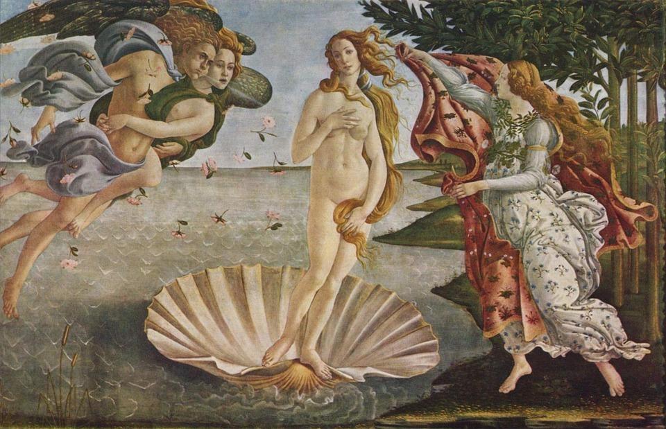 Az egyik legelső és talán leghíresebb akt festmény: Vénusz születése.