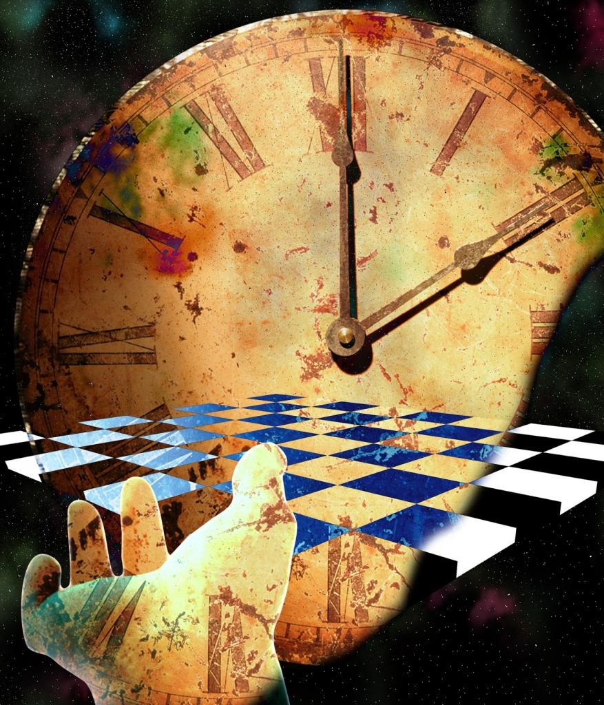 szürrealista festmény - óra összeolvad egy sakktáblával