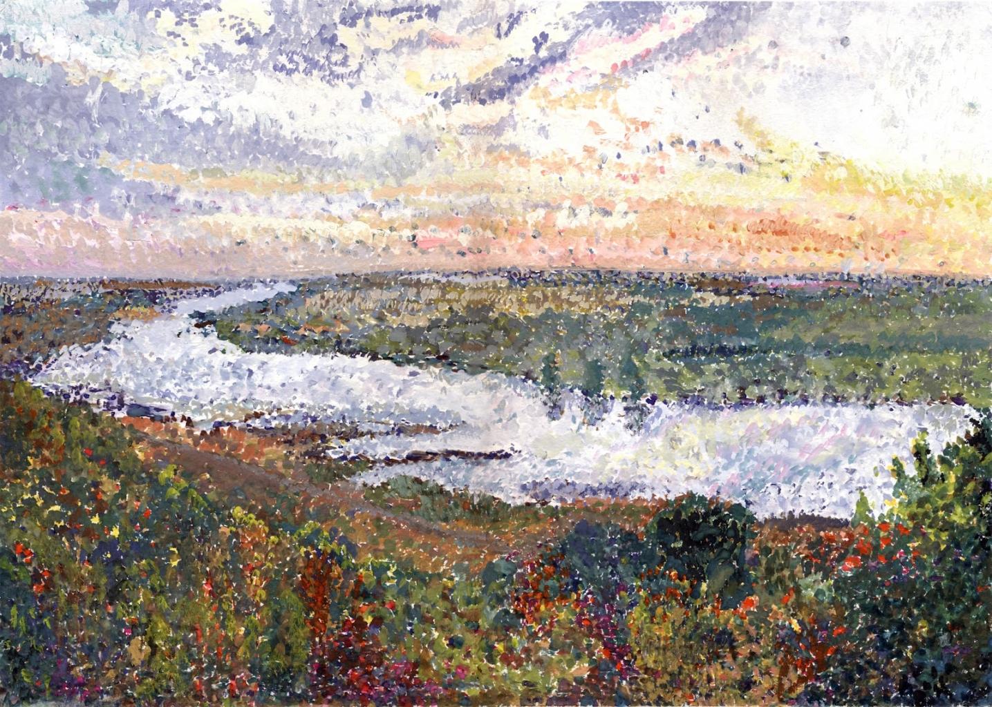 Pointillizmus - kanyargó folyó látképe