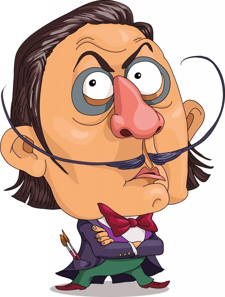 Salvador Dalí karikatúra - Híres festők furcsa szokásai