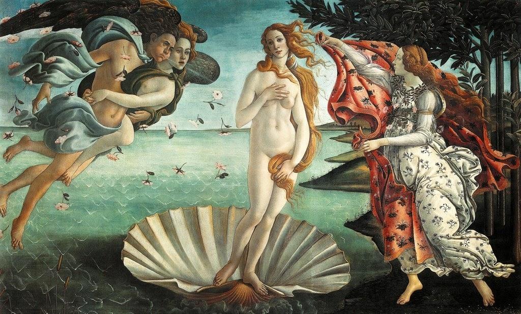 Híres akt festmények: Botticelli - Vénusz születése